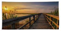Cedar Beach Pier, Long Island New York Hand Towel