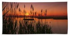 Cedar Beach Sunset In The Reeds Bath Towel