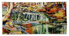 Hand Towel featuring the painting Ceeekbed, Fall Colors 4 by Rae Andrews