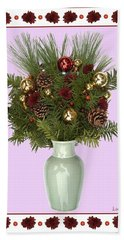 Hand Towel featuring the digital art Celadon Vase With Christmas Bouquet by Lise Winne
