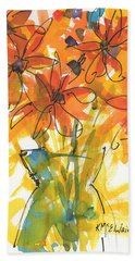 Celebration Of Sunflowers Watercolor Painting By Kmcelwaine Bath Towel