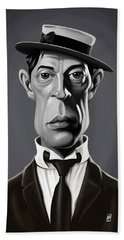 Hand Towel featuring the digital art Celebrity Sunday - Buster Keaton by Rob Snow