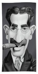 Celebrity Sunday - Groucho Marx Hand Towel by Rob Snow