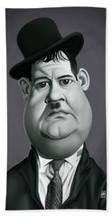Bath Towel featuring the digital art Celebrity Sunday - Oliver Hardy by Rob Snow