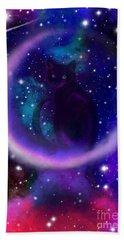 Celestial Crescent Moon Cat  Bath Towel