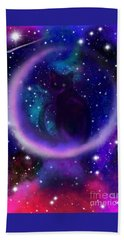 Bath Towel featuring the painting Celestial Crescent Moon Cat  by Nick Gustafson