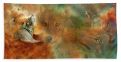 Bath Towel featuring the mixed media Celestial Wolves by Carol Cavalaris
