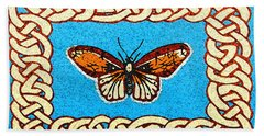 Hand Towel featuring the painting Celtic Butterfly by Lise Winne