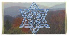 Celtic Hexagram Rose In Blue Hand Towel