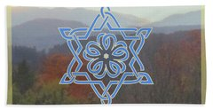 Celtic Hexagram Rose In Blue Bath Towel