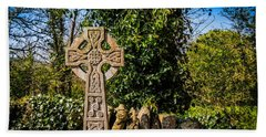 Hand Towel featuring the photograph Celtic Knots Decorate A Celtic Cross by James Truett