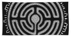 Bath Towel featuring the mixed media Celtic Labyrinth Mandala by Kristen Fox