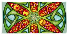 Bath Towel featuring the mixed media Celtic Summer Mandala by Kristen Fox