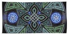 Bath Towel featuring the mixed media Celtic Ufo Mandala by Kristen Fox