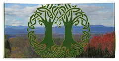 Celtic Wedding Tree In Green Hand Towel