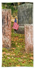 Hand Towel featuring the photograph Cemetery Flag by Tom Singleton