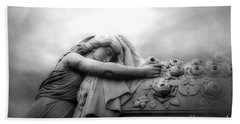 Bath Towel featuring the photograph Cemetery Grave Mourner Black White Surreal Coffin Grave Art - Angel Mourner Across Rose Coffin by Kathy Fornal