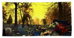 Cemetery In Feast Of The Dead Hand Towel