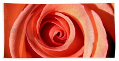 Hand Towel featuring the photograph Center Of The Peach Rose by Barbara Chichester