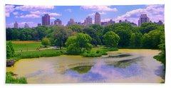 Central Park And Lake, Manhattan Ny Bath Towel