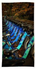 Bath Towel featuring the mixed media Central Park Bikes by Trish Tritz