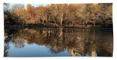 Hand Towel featuring the photograph Central Park City Reflections by Madeline Ellis