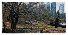 Bath Towel featuring the photograph Central Park In January by Sandy Moulder