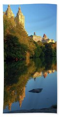 Hand Towel featuring the photograph Central Park Refelctions by James Kirkikis