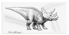 Cera The Triceratops - Dinosaur Ink Drawing Bath Towel