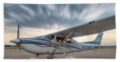 Cessna 182 On The Ramp Hand Towel