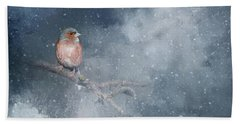 Chaffinch On A Cold Winter Day Bath Towel