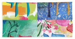 Chai Collage- Contemporary Jewish Art By Linda Woods Bath Towel