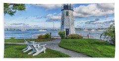 Chairs At Newport Harbor Lighthouse Bath Towel