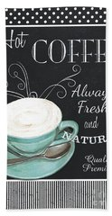 Bath Towel featuring the painting Chalkboard Retro Coffee Shop 1 by Debbie DeWitt