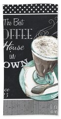 Bath Towel featuring the painting Chalkboard Retro Coffee Shop 2 by Debbie DeWitt