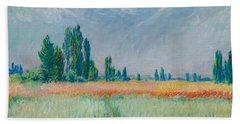 Bath Towel featuring the painting Champ De Ble by Claude Monet