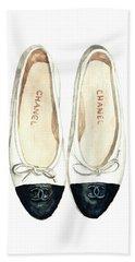 Chanel Ballet Flats Classic Watercolor Fashion Illustration Coco Quotes Vintage Paris Black White Bath Towel