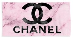 Chanel Logo Pink Marble Bath Towel