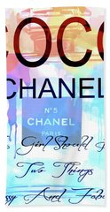 Chanel Watercolor Quote Hand Towel