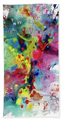Bath Towel featuring the painting Chaotic Craziness Series 1984.032914 by Kris Haas