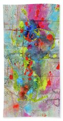 Bath Towel featuring the painting Chaotic Craziness Series 1989.033014 by Kris Haas