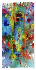 Bath Towel featuring the painting Chaotic Craziness Series 1992.033014 by Kris Haas