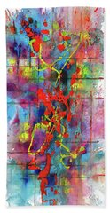 Bath Towel featuring the painting Chaotic Craziness Series 1995.033014 by Kris Haas