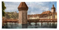 Chapel Bridge In Lucerne Bath Towel