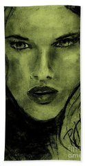 Bath Towel featuring the drawing char-Carol by P J Lewis