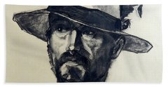 Charcoal Portrait Of A Man Wearing A Summer Hat Hand Towel