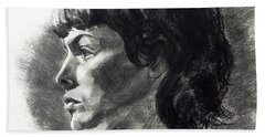 Charcoal Portrait Of A Pensive Young Woman In Profile Hand Towel