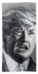 Charcoal Portrait Of The Donald Bath Towel