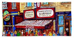 Charcuterie Hebraique Schwartz Line Up Waiting For Smoked Meat Montreal Paintings Carole Spandau     Bath Towel