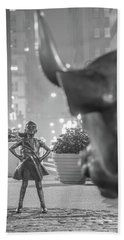 Charging Bull And Fearless Girl Nyc  Hand Towel